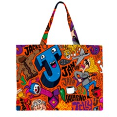 J Pattern Cartoons Large Tote Bag by AnjaniArt