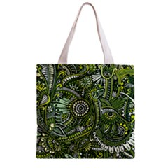 Green Boho Flower Pattern Zz0105 Zipper Grocery Tote Bag by Zandiepants