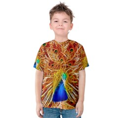 Fractal Peacock Art Kids  Cotton Tee by Zeze