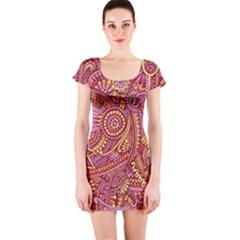 Pink Yellow Hippie Flower Pattern Zz0106 Short Sleeve Bodycon Dress by Zandiepants