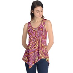 Pink Yellow Hippie Flower Pattern Zz0106 Sleeveless Tunic by Zandiepants