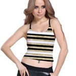 Gold Glitter and Black Stripes Spaghetti Strap Bra Top