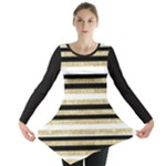 Gold Glitter and Black Stripes Long Sleeve Tunic