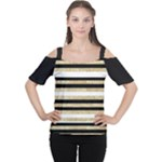 Gold Glitter and Black Stripes Women s Cutout Shoulder Tee