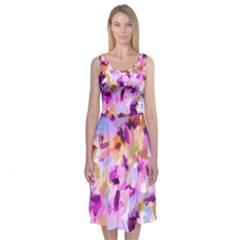 Lila Bohemian Chic Brushstrokes Midi Sleeveless Dress by Contest2481019