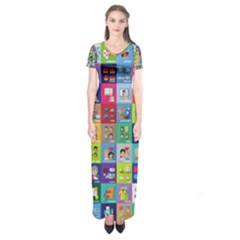 Exquisite Icons Collection Vector Short Sleeve Maxi Dress