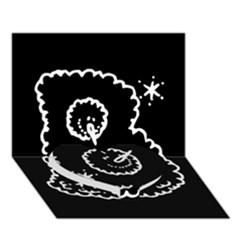 Funny Black And White Doodle Snowballs Heart Bottom 3d Greeting Card (7x5) by yoursparklingshop