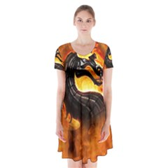 Dragon And Fire Short Sleeve V-neck Flare Dress by Zeze