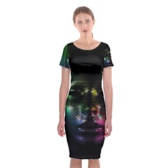 Digital Art Psychedelic Face Skull Color Classic Short Sleeve Midi Dress by Zeze