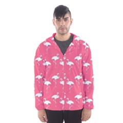 Flamingo White On Pink Pattern Hooded Wind Breaker (men) by CrypticFragmentsColors