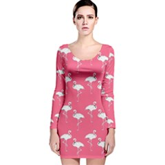 Flamingo White On Pink Pattern Long Sleeve Velvet Bodycon Dress by CrypticFragmentsColors