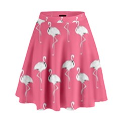 Flamingo White On Pink Pattern High Waist Skirt by CrypticFragmentsColors
