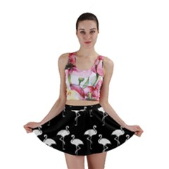 Flamingo Pattern White On Black  Mini Skirt by CrypticFragmentsColors