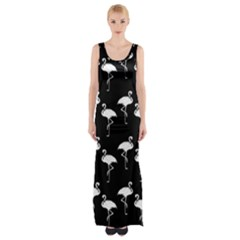 Flamingo Pattern White On Black  Maxi Thigh Split Dress by CrypticFragmentsColors