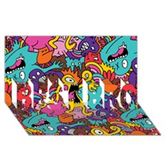 Monsters Pattern BEST BRO 3D Greeting Card (8x4) by AnjaniArt