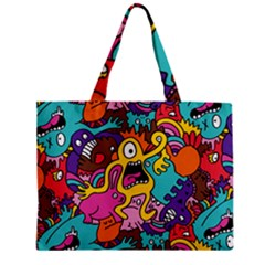 Monsters Pattern Zipper Mini Tote Bag by AnjaniArt