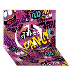 Panic Pattern Peace Sign 3d Greeting Card (7x5)