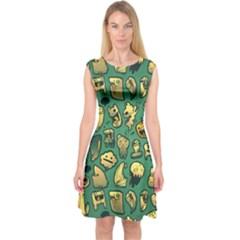 Pattern Linnch Capsleeve Midi Dress by AnjaniArt