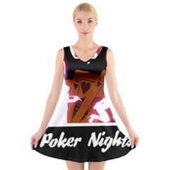 Poker Night V-Neck Sleeveless Skater Dress by AnjaniArt