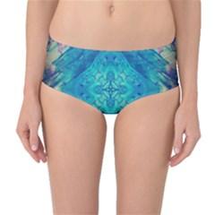 Boho Hippie Tie Dye Retro Seventies Blue Violet Mid-Waist Bikini Bottoms by CrypticFragmentsDesign