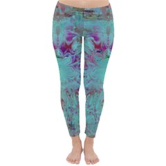 Retro Hippie Abstract Floral Blue Violet Winter Leggings  by CrypticFragmentsDesign