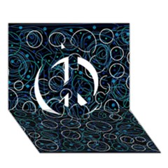 Blue Abstract Decor Peace Sign 3d Greeting Card (7x5) by Valentinaart
