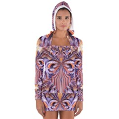 Fire Goddess Abstract Modern Digital Art  Women s Long Sleeve Hooded T-shirt by CrypticFragmentsDesign