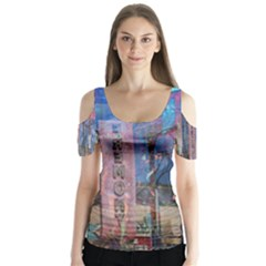 Las Vegas Strip Walking Tour Butterfly Sleeve Cutout Tee  by CrypticFragmentsDesign