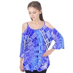 Semi Circles Abstract Geometric Modern Art Blue  Flutter Tees by CrypticFragmentsDesign