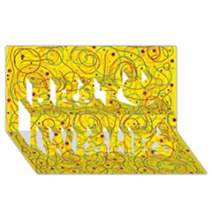 Yellow Abstract Art Best Wish 3d Greeting Card (8x4) by Valentinaart