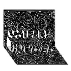 Black And White Magic You Are Invited 3d Greeting Card (7x5) by Valentinaart