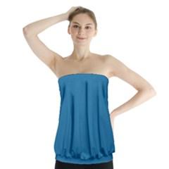 Pelorous Blue Colour Strapless Top by artpics