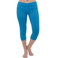 Pacific Blue Colour Capri Yoga Leggings by artpics