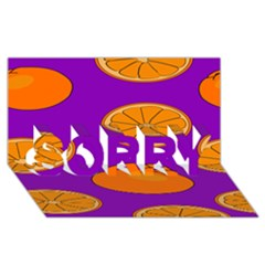 Orange Fruit Pattern SORRY 3D Greeting Card (8x4) by artpics