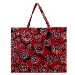 Red Abstract Decor Zipper Large Tote Bag by Valentinaart