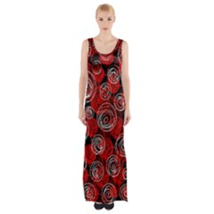Red Abstract Decor Maxi Thigh Split Dress by Valentinaart