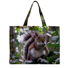 Gray Squirrel Eating Sycamore Seed Zipper Mini Tote Bag by GiftsbyNature
