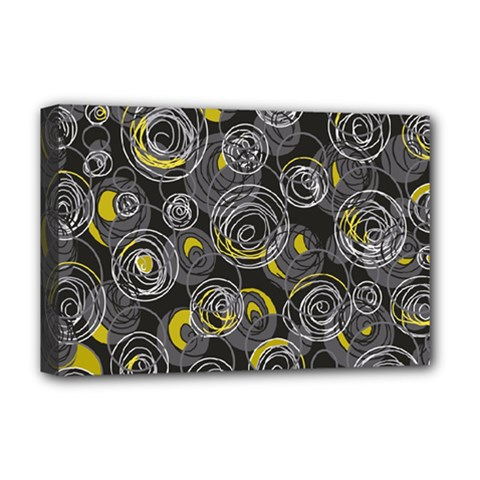 Gray and yellow abstract art Deluxe Canvas 18  x 12