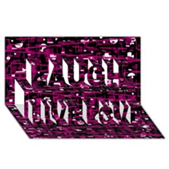 Magenta Abstract Art Laugh Live Love 3d Greeting Card (8x4) by Valentinaart