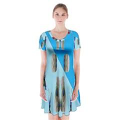 Imagesf4rf4olik Short Sleeve V Neck Flare Dress