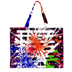 Colorful Big Bang Zipper Large Tote Bag by Valentinaart