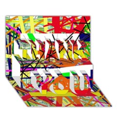 Colorful abstraction by Moma THANK YOU 3D Greeting Card (7x5) by Valentinaart