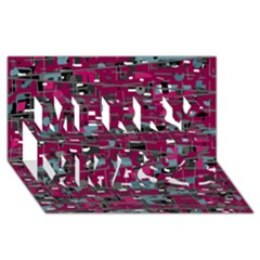 Magenta Decorative Design Merry Xmas 3d Greeting Card (8x4) by Valentinaart