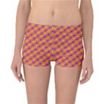 Vibrant Retro Diamond Pattern Reversible Boyleg Bikini Bottoms