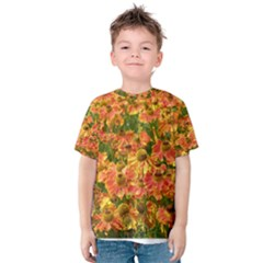 Helenium Flowers and Bees Kids  Cotton Tee by GiftsbyNature