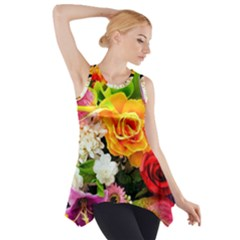 Colorful Flowers Side Drop Tank Tunic by Zeze