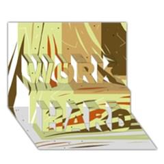 Brown Decorative Design Work Hard 3d Greeting Card (7x5) by Valentinaart