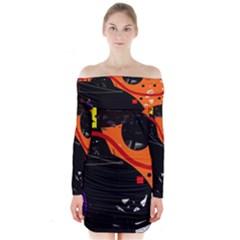 Orange dream Long Sleeve Off Shoulder Dress by Valentinaart