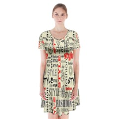 Backdrop Style With Texture And Typography Fashion Style Short Sleeve V-neck Flare Dress by Zeze