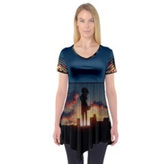 Art Sunset Anime Afternoon Short Sleeve Tunic  by Zeze